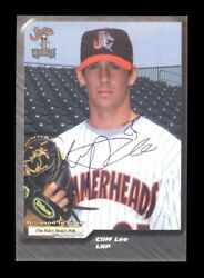 2001 Palm Beach Post 13 Cliff Lee Autographed Signed Full Minor League Signature