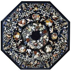 Marble Octagon Office Table Top Marquetry Art Dining Table With Floral Design
