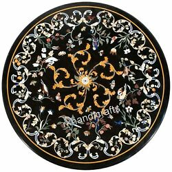 Dining Table Top Antique Work Black Marble Living Room Table With Inlay Art