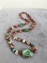 Ancient Etched Sassanian Carnelian Bead Necklace With Turquoise Gold Clasp