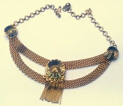 Exquisite Antique Victorian Gold Filled Mesh Chain And Rhinestone Choker Necklace