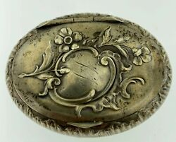Antique French Sterling Silver 925 Oval Hand Engraved Floral Snuff/pill Box