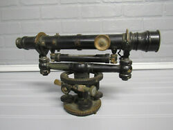 Antique W And L.e. Gurley Troy Ny Level Surveyorand039s Transit Black W/ Brass Accents