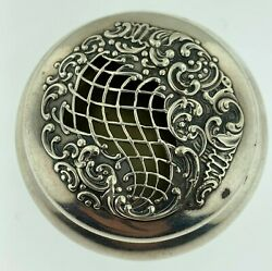 Sterling Silver Oval Ornate Open Work Pill Or Trinket Boxamerican Circa 1930