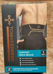 NEW TOMMIE COPPER Sport Support Back Brace Size Medium Cooper infused L@@K $16.99