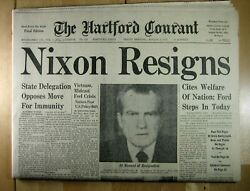 Nixon Resigns August 9, 1974 Hartford Courant Complete Paper-excellent Condition