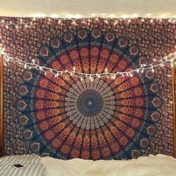Mandala Tapestry Indian Wall Hanging Decor Hippie Bohemian Psychedelic Peacock
