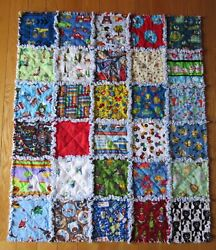 Baby Or Toddler Boy Rag Quilt I Spy Colorful Learning 30 Different Squares Large