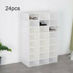 24PCS Foldable Shoe Box Storage Small Transparent Case Stackable Organizer US