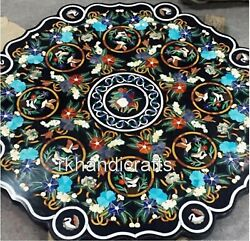Dining Table Shiny Gemstone Inlay Work White Marble Lawn Table With Royal Look