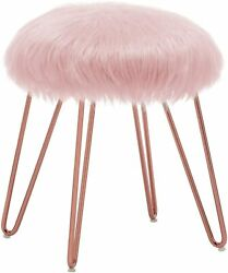 Duhome Mongolian Faux Fur Ottoman Round Foot Rest Vanity Makeup Stool Rose Gold