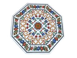 Marble Coffee Table Top Pietra Dura Art Island Table With Floral Design