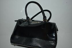 Furla Glossy Black Patent Leather Satchel Handbag