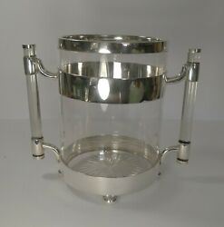 Rare Art Deco Italian Crystal And Silver Plated Champagne Bucket / Wine Cooler