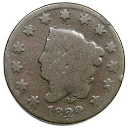 1822 N-9 Matron Or Coronet Head Large Cent Coin 1c