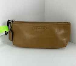 Coach Cosmetic Bag Leatherware 1941 Brown Leather Zip Top M6 $39.99