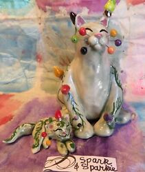 WhimsiClay original Sparkie mini Sparkie. =^.^= 2 Free cat pins Made in USA
