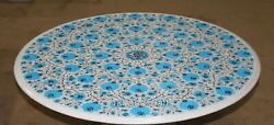 Marble Dining Table Top Turquoise Stone Inlay Work Office Table With Floral Art