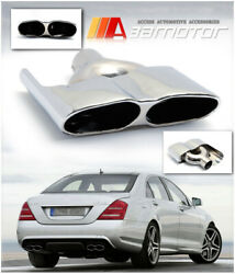 A Style Chrome Quad Exhaust Muffler Tips Tail Pipe Fits Mercedes S550 W221 S65