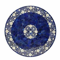 Blue Marble Inlay Dining Table Top Mother Of Pearl Center Table With Floral Art