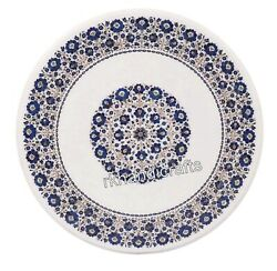 White Marble Dining Table Top Lapis Lazuli Inlaid Office Table With Elegant Look