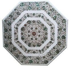 Dining Table Top Abalone Shell Stone Inlaid Marble Patio Table With Royal Look
