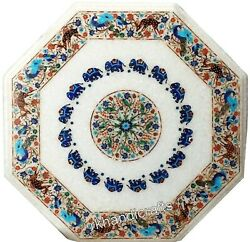 Marble Coffee Table Top Nature Art Lawn Table Semi Precious Stone Inlay Work