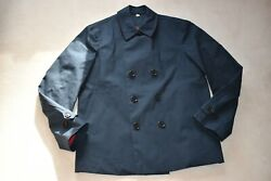 Navy Blue Double Breasted Button Up Trench Coat Mac Jacket Mens Large L