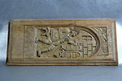 Antique Solid Engraved Large Wood Plank Board Window French Noble Royal Man Art