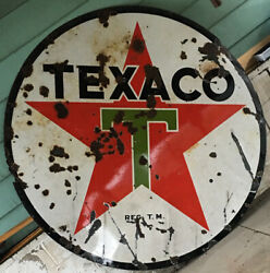 Vintage 6 Foot Round Texaco Gas Sign