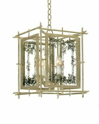 13.78 Lantern Silver Leaf Finish And Bordered Glass Pattern