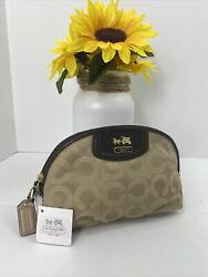 Coach Cosmetic Bag Madison Op Art Signature Sateen Khaki Leather Zip 46637 M5 $69.99