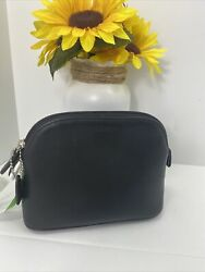 Coach Cosmetic Bag Glove Black Leather Dome Vintage Zip Large M5 $129.99