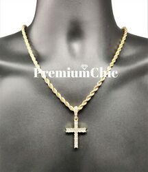 Iced Cross Pendant with 5MM Rope Chain Necklace Mens Hip Hop Gold Plated Jewelry $11.99