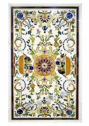 Marble Dining Table Pietra Dura Art Kitchen Table Top With Antique Work