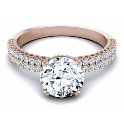 Unique 0.90 Ct Real Diamond Women Engagement Ring Solid 14k Rose Gold Size M N