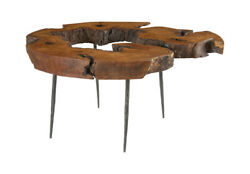 49 Round Coffee Table Mai Theng Burled Wood Forged Iron Legs