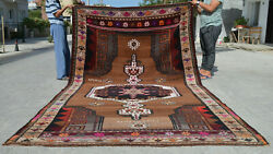 7x13 Rug Hand Knotted Area Rug Turkish Tribal Large Runner Rug Actual 86″ X 151″