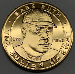 1995 Liberian Dollar Babe Ruth Republic Of Liberia Gold Plated Pl Unc Coin