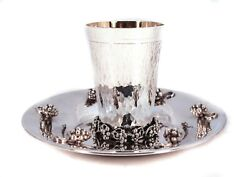 Fine Italian 925 Sterling Silver Handmade Hammered Grape Applique Cup And Tray