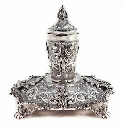 925 Sterling Silver Handmade Covered Garland And Leaf Applique Cup And Tray