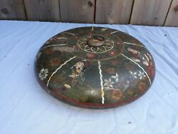 Antique Asian Indian Persian Turned Wood Bowl With Miniature Painting