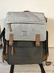 📀 Eddie Bauer Places and Spaces Cascade Backpack Diaper Bag Gray Tan $49.99