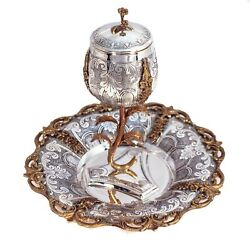 925 Sterling Silver/gold Handmade Chased Rose Shaped Cup And Leaf Applique Tray