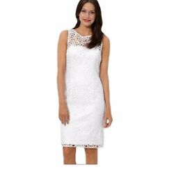 Adrianna Papell Evening White Lace Dress Size 8 $45.00