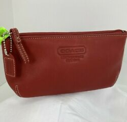 Coach Cosmetic Bag Leatherware 1941 Soft Smooth Red Leather Zip Top M1 $89.99