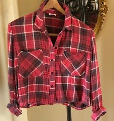 BP for Nordstrom Red Plaid Soft Flannel Long Sleeve Cropped Shirt w Pockets M $14.95