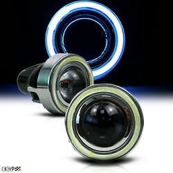 Hid Xenon Led 3.15 Projector Fog Light Lamps W/ice Blue Halo Angel Eyes Rings