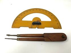 Vintage Old Wooden Carved Protractor 180 Degree, Lock Pencil Drawing Compass Set