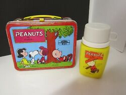 Vintage Collectible Peanuts Charlie Brown By Schulz Lunchbox With Thermos 1973